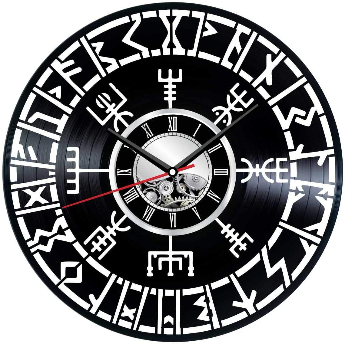 Vegvisir Vikings Wall Clock Made of Vinyl Record - Stylish clock and Amazing Gifts Ideas – Unique Home Decor – Personalized Presents for Men Women Kids – Great Wall Art for Living Room Bedroom Kitchen