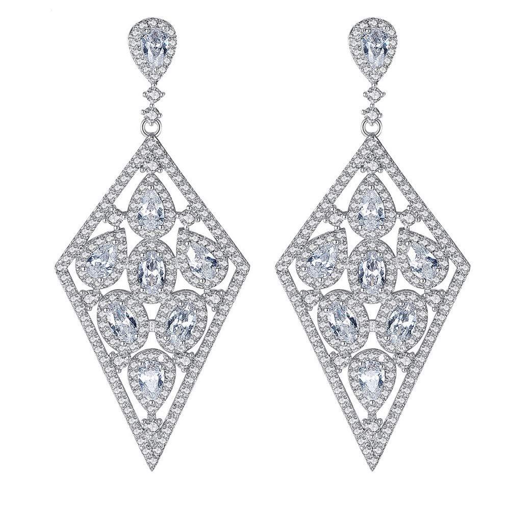 Onefeart Platinum Plated Stud Earrings For Women Pear Cubic Zirconia Party Wedding Fashion Jewelry Drop Earrings 22 7x52 4mm White Gold Jewelry Earrings