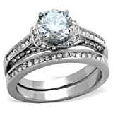 2.75 Ct Round Cut Cubic Zirconia Stainless Steel