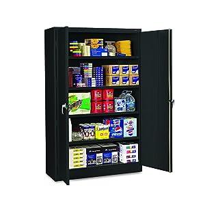 """Tennsco J1878SUBK Assembled Jumbo Steel Storage Cabinet, 48""""w x 18""""d x 78""""h, Black"""