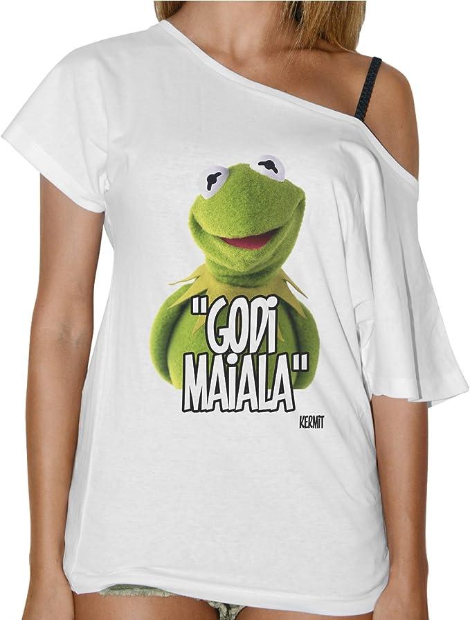Camiseta para Mujer, con Cuello tipo Barco, de la Rana Gustavo con la divertida frase «Godi maiala» en italiano - Blanca