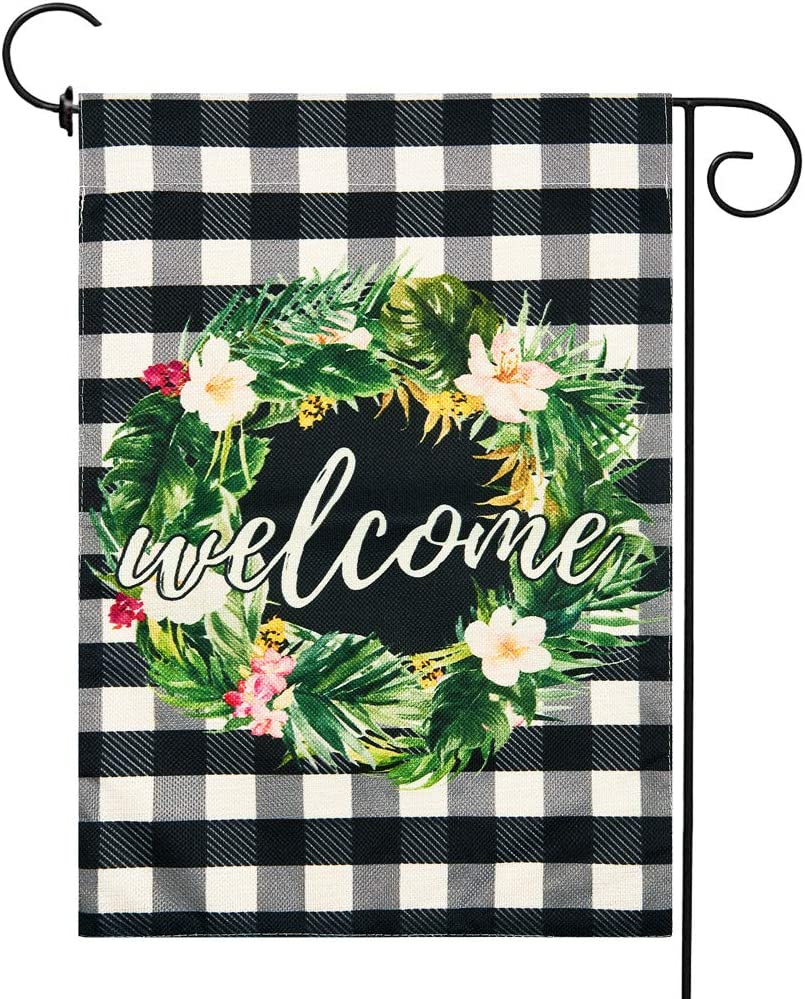Welcome Wreath Garden Flag Spring Yard Flags Double Sided Burlap House Flag Outdoor Decoration 12.5 x 18 Inch