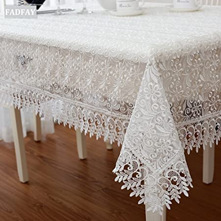 FADFAY European Rustic Vintage Floral Embroidered Tablecloths Lace Table  Cover