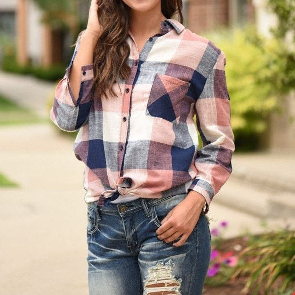 Women Casual Long Sleeve Tunic Shirts Colorful Plaid Button Loose T-Shirt Blouse Cardigan Tops by LUCA (Image #3)
