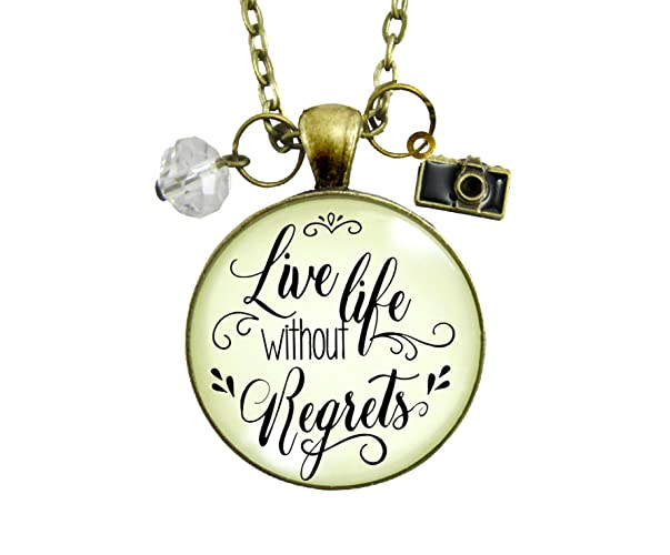Amazoncom 24 Live Life Without Regrets Necklace Glam Quote