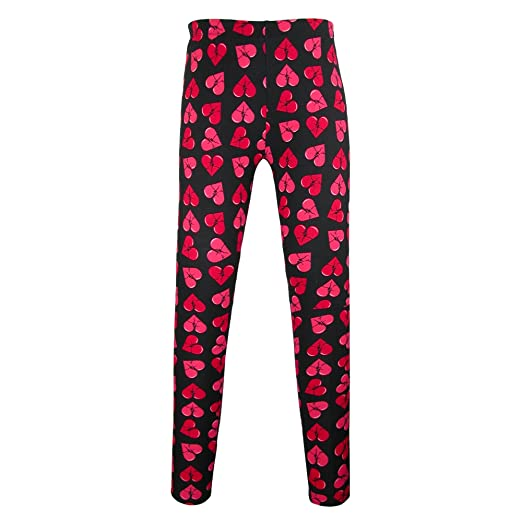 Just One Women S Heart Print Valentine S Day Leggings Medium Black
