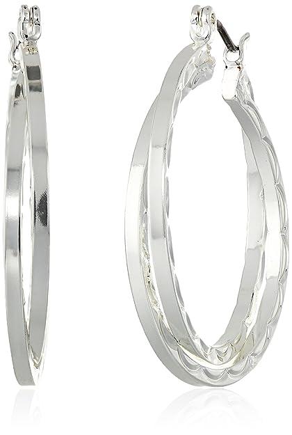 Napier Silver-Tone Open C Hoop Clip-On Earrings