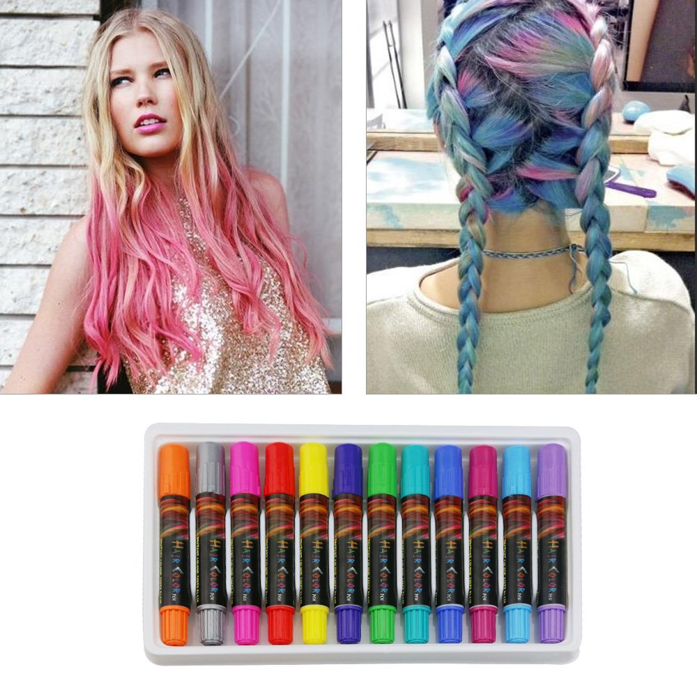 Bestfire Temporary Hair Chalk Pens 12 Colors Washable Hair Dye