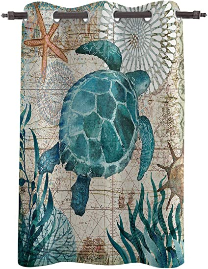 Amaze-Home Decorative Curtains Window Drapes Sea Turtle Ocean Animal Nautical Themed Printed Printed Door Treatments One Panel