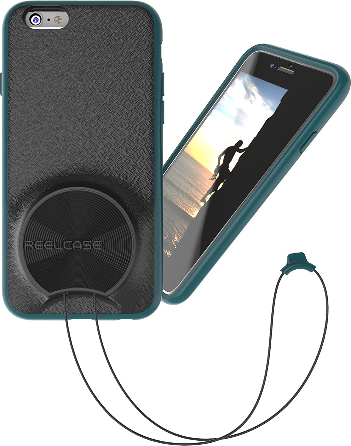 wholesale dealer b1bf5 c6dba ReelCase - iphone6 case with lanyard teal - retractable neck strap  integrated into protective case