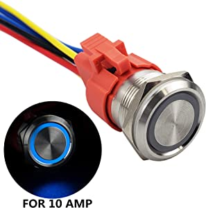 APIELE All New Design 10 Amp 22mm Latching Push Button Switch 12V Angel Eye LED Waterproof Stainless Steel Round Self-Locking 7/8'' 1NO 1NC (10 Amp/Blue Led)