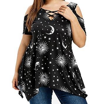 LILICAT® Mujeres camisetas de talla grande (S ~ 5XL), 2018 Blusas irregulares