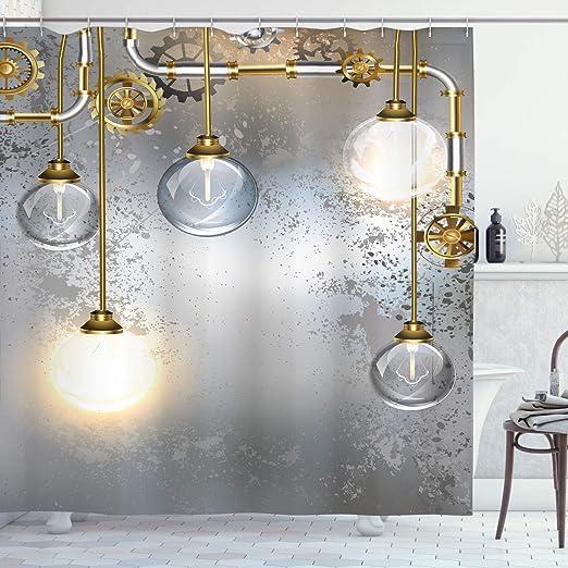 Industrial Shower Curtain Steampunk Antique Print for Bathroom