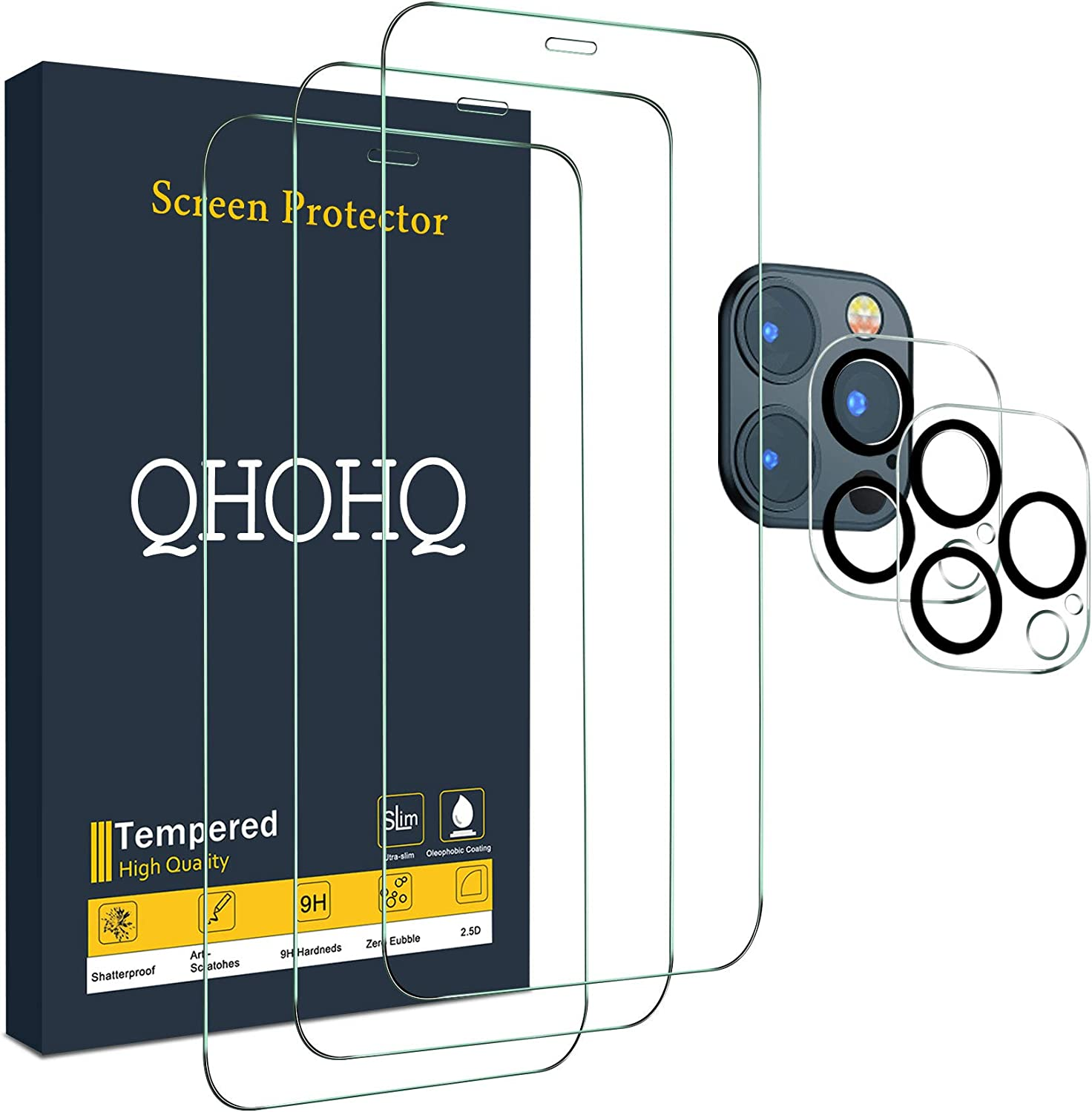 """QHOHQ 3 Pack Screen Protector for iPhone 12 Pro Max [6.7""""] with 2 Packs Tempered Glass Camera Lens Protector, Tempered Glass Film, 9H Hardness - HD - 2.5D Edge - Bubble Free - Scratch Resistant"""