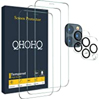 "QHOHQ 3 Pack Screen Protector for iPhone 12 Pro Max [6.7""] with 2 Packs Tempered Glass Camera Lens Protector, Tempered…"