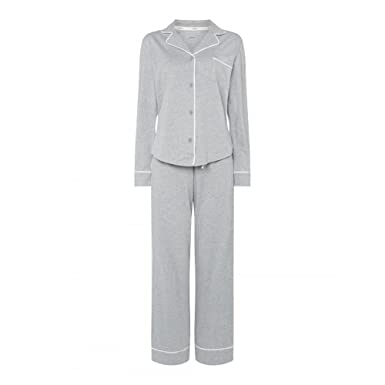 384f84e4f8 DKNY New Signature Long PJ Set In Grey Heather OR Navy Pinstripe (2719259)   Amazon.co.uk  Clothing