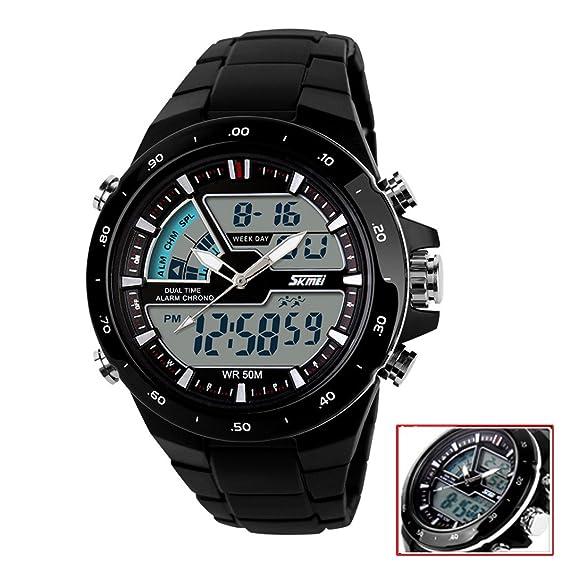 Readeel Hombres Deportes Relojes Fashion Casual reloj de cuarzo Digital y analógica multifuncional impermeable hombres de deportes relojes Led, marco ...