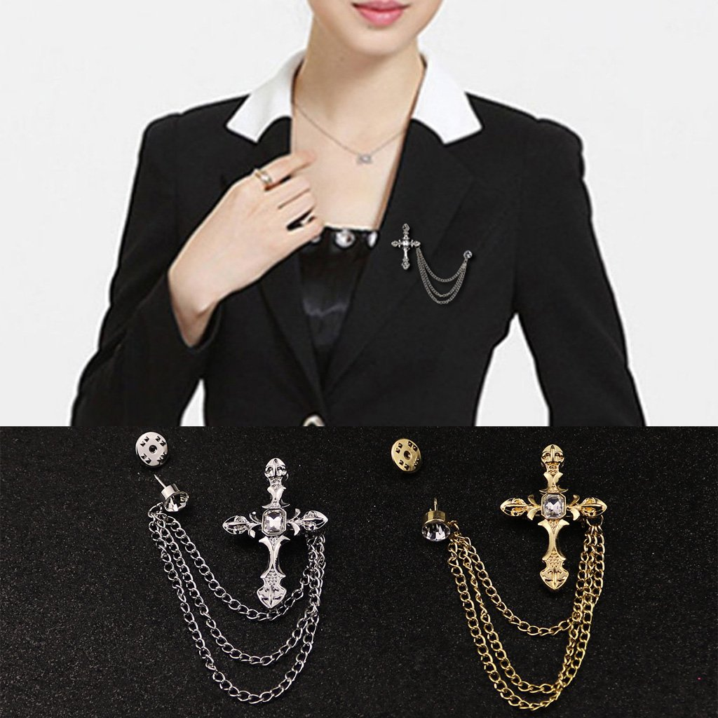AISme Mens Rhinestone Cross Chain Brooch Lapel Pin Shirt Suit Wedding Accessory Gift