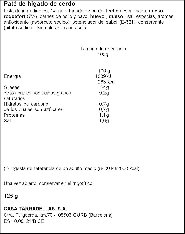 Paté roquefort casa tarradellas 125 g: Amazon.es: Alimentación y ...