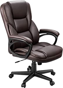 Furmax Office Executive Chair High Back Adjustable Managerial Home Desk Chair, Swivel Computer PU Leather Chair with Lumbar Support (Brown)