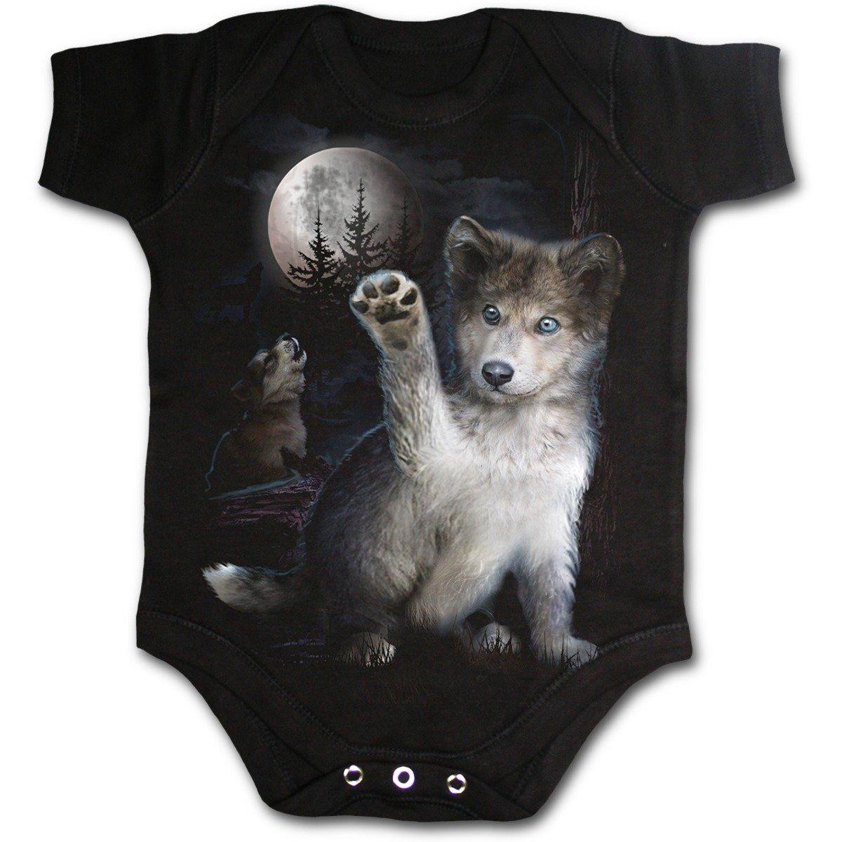 Spiral - WOLF PUPPY - Baby Sleepsuit Black Spiral Direct Ltd F032K002