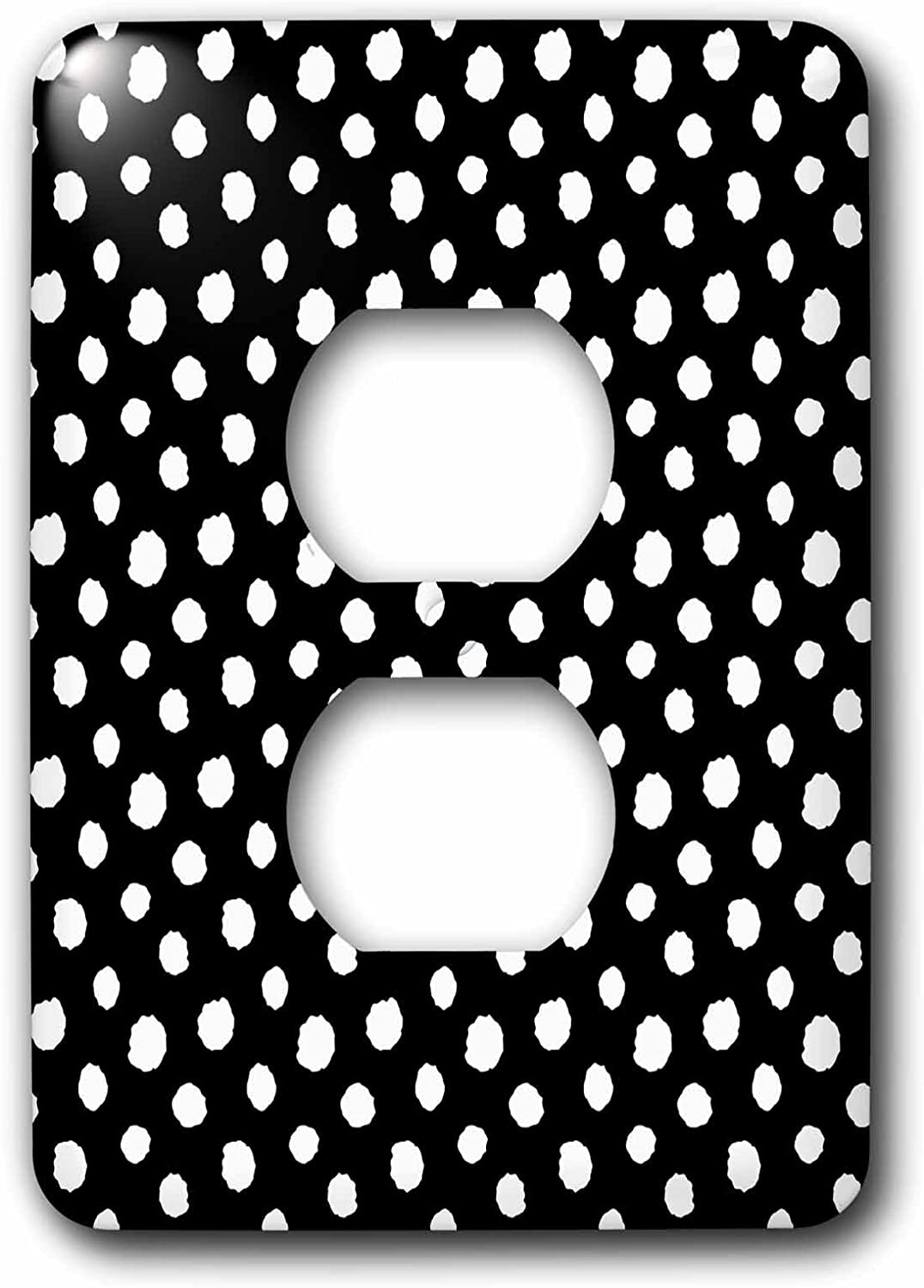 Mixed 3dRose lsp/_272892/_6 Cute Girly Trendy Polka Pattern on Black-White Large Dots Plug Outlet Cover