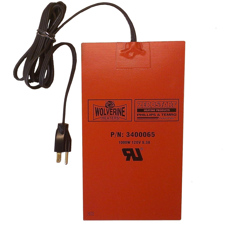 Biofuel and Hydraulic Fluid Heater 1000 Watts Wolverine Model 80 Zerostart 3400065 Reservoir 120 Volts Silicone Pad Heater Engine Oil