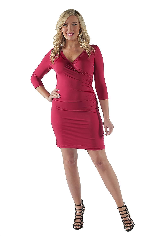 24/7 Comfort Apparel Women's Faux Wrap Dress(WINE,1XL)