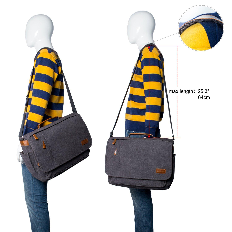 Estarer Laptop Messenger Bag 17-17.3 Inch Water-resistance Canvas Shoulder Bag for Work College by Estarer (Image #7)