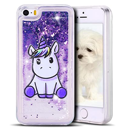 MoEvn Funda iPhone SE, Bling Unicornio Arena Movediza Lentejuelas Carcasa iPhone 5S, Líquido Case Cover TPU Transparente Anti Rasguño Protección Gel ...