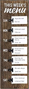 Dahey Wood Board Weekly Meal Planner Rustic Wood Sign with Clips and Mini Sticky Note Vintage Farmhouse Kitchen Refrigerator Chalkboard Magnet Display, Brown,Small