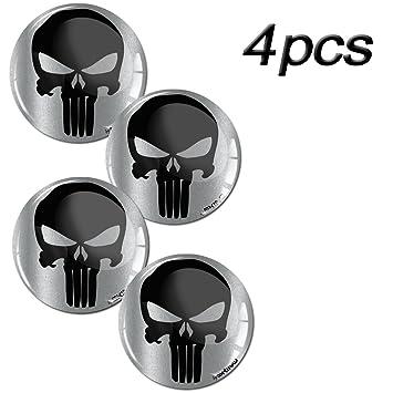 Skino 4 X 60mm Aufkleber 3d Gel Silikon Autoaufkleber Stickers Punisher Skull Schädel Totenkopf Felgenaufkleber Für Radkappen Nabenkappen