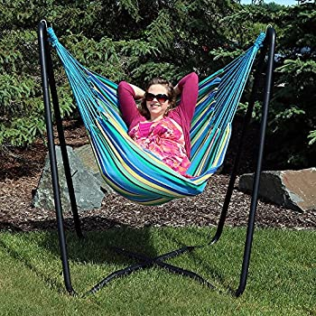 Sunnydaze Hanging Hammock Chair Swing With Sturdy Space Saving Stand For  Indoor Or Outdoor Use