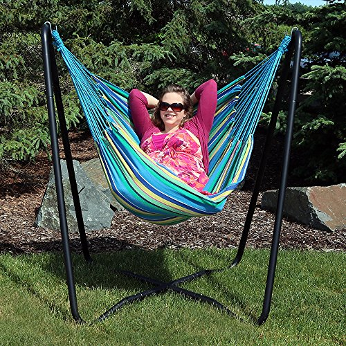 Wooden Swing Stand - Sunnydaze Hanging Rope Hammock Chair Swing with Space Saving Stand, Ocean Breeze - For Indoor or Outdoor Patio, Yard, Porch, and Bedroom