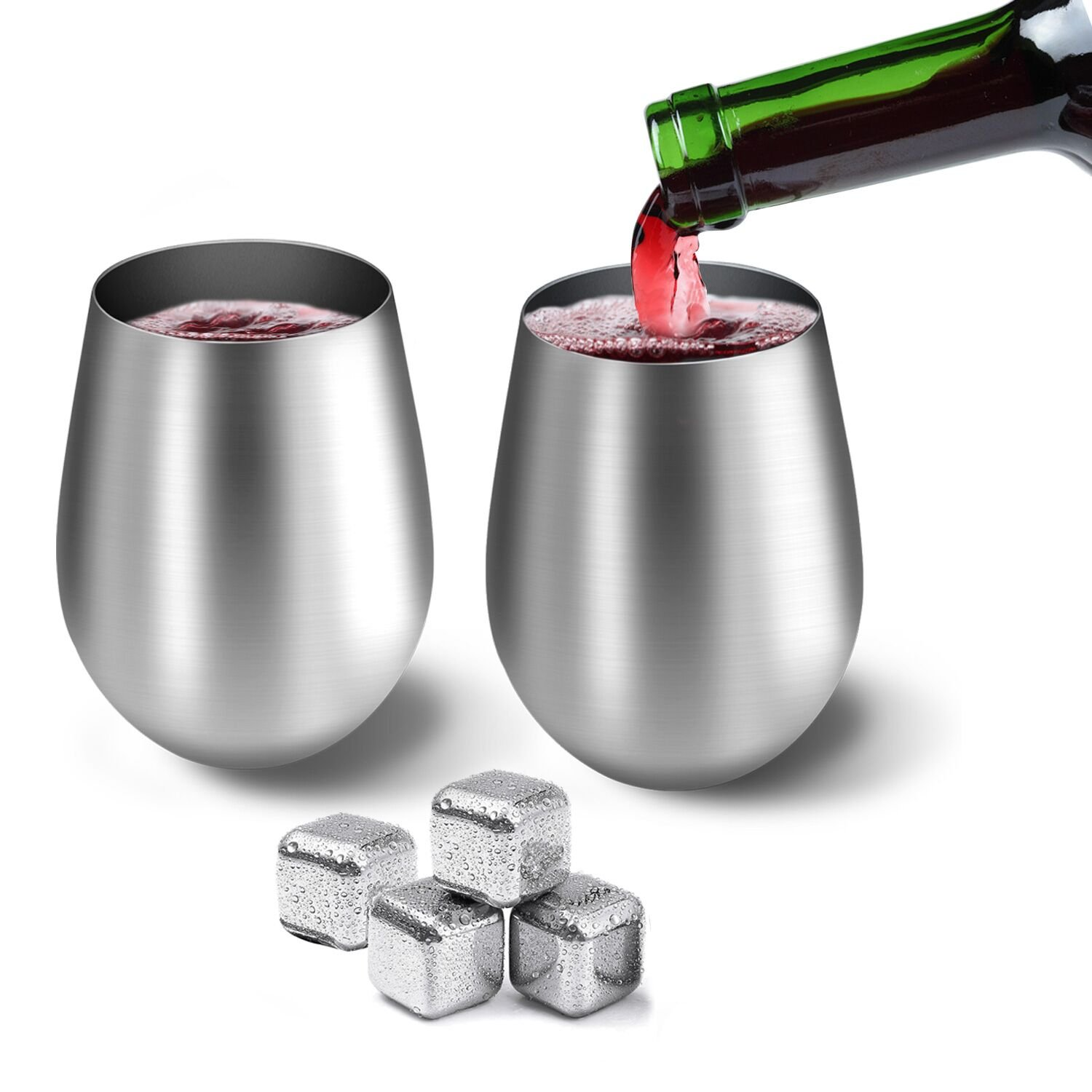 Stainless Steel Wine Glasses 20 oz HOMESTEC Premium Grade 18/8 (Set of 2) Unbreakable Stainless Steel Wine Cups for Daily & Outdoor Parties Picnic Events