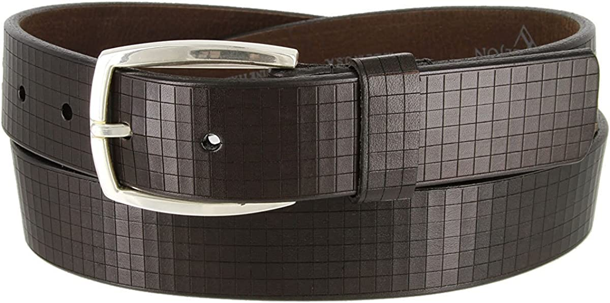 Hagora Men 1-3//8 Wide Brown Italian Leather Etched Squares Silver Buckle Belt