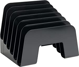 1InTheOffice Incline Desktop File Sorter, 6 Compartments Step Sorter, Black