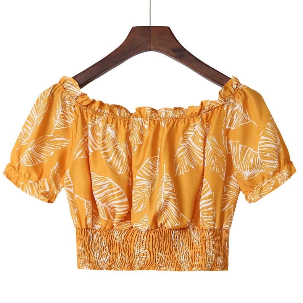 Camisas para Mujeres, Estampado Floral Cuello De Una Palabra con ...