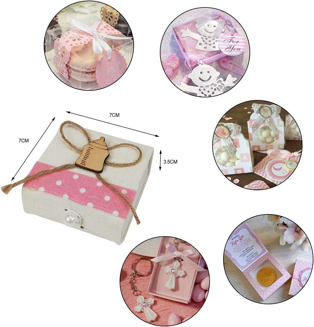 12 Caja de Regalo Bautizo Ni/ña,Color Rosa,Arpillera-Botella Box