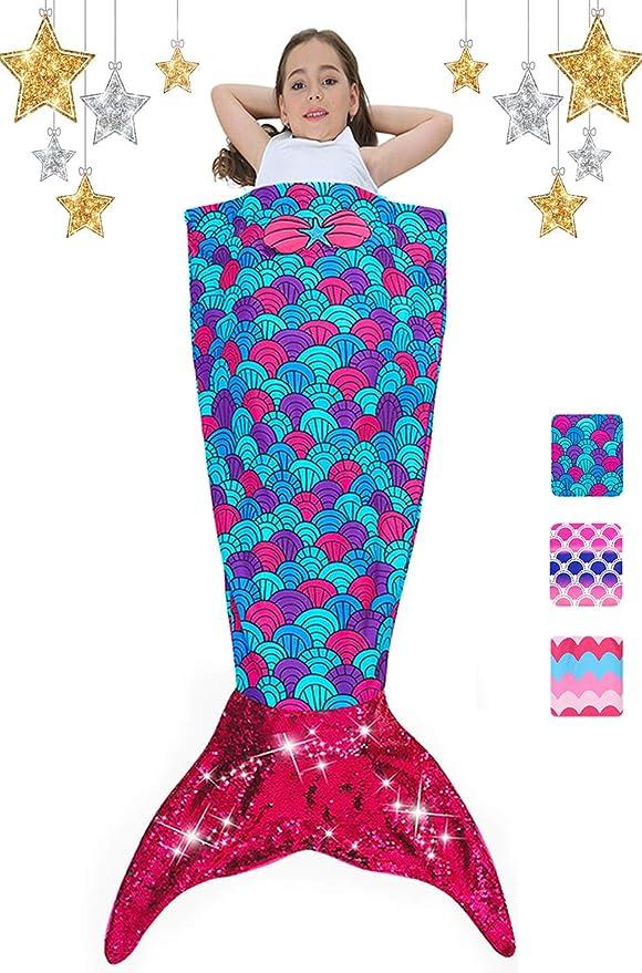 Kids Blanket Mermaid Tail Soft Fleece Blankets Sleeping Bag Fancy Dress One Size