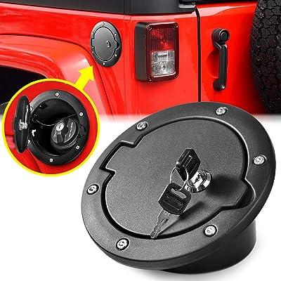 Aukmak Fuel Filler Door Locking Gas Tank Cap Cover for Jeep Wrangler Accessories 2007-2020 JK Unlimited Rubicon Sahara: Automotive