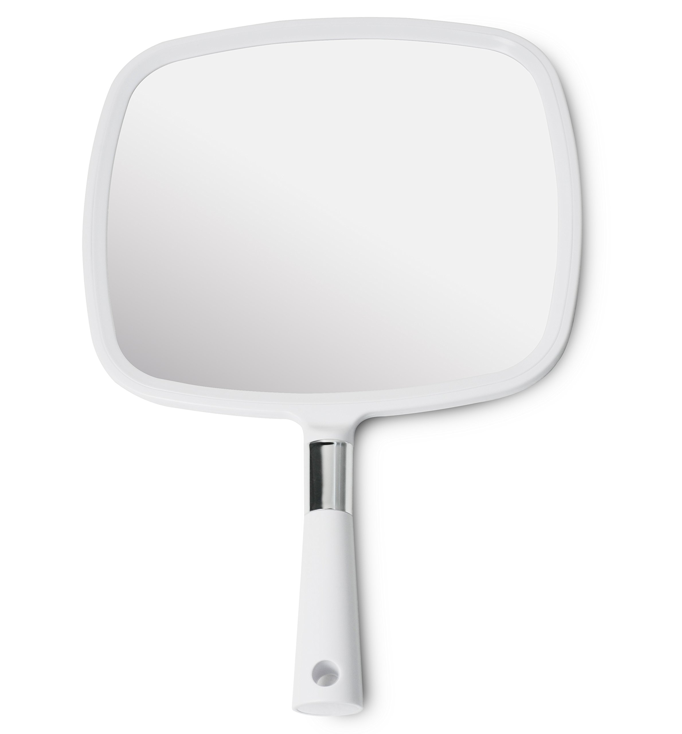 Mirrorvana Large & Comfy Hand Held Mirror with Handle (2018 Salon Model in White)