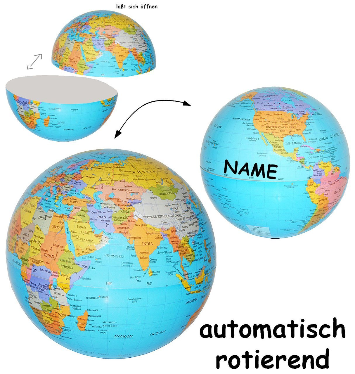 rotierender Globus / Weltkugel - incl. Name - auch als Sparbüchse ...