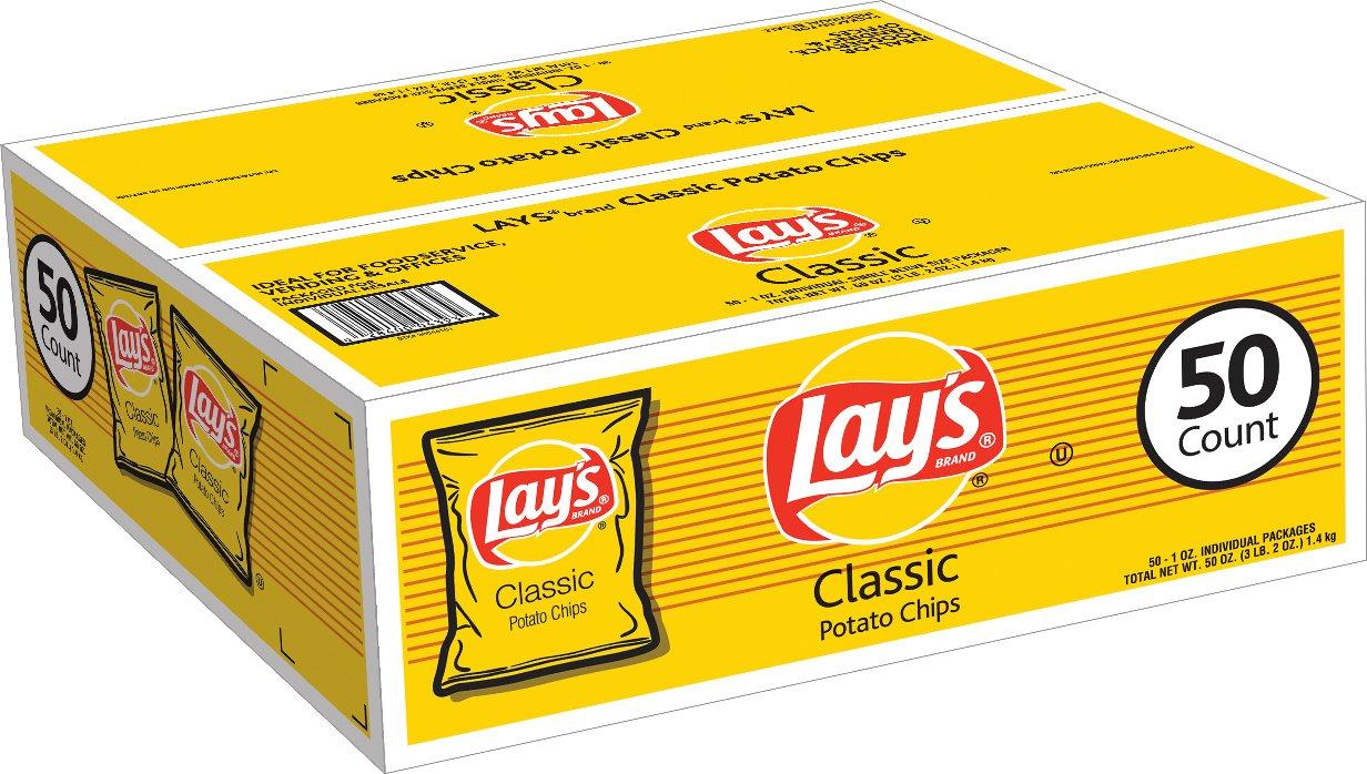 Lays Classic Potato Chips (1 oz  bags, 50 ct)