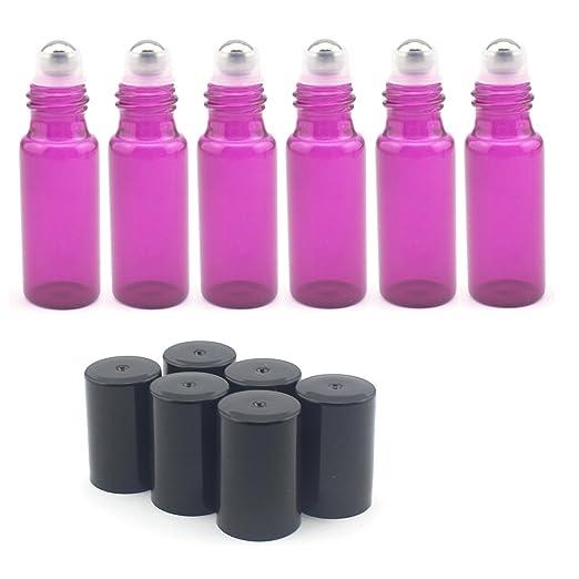 5 ml vidrio botellas -- Juego de 15 con (con bola de metal para aceites esenciales, aromaterapia, perfumes y cristal, color morado: Amazon.es: Industria, ...
