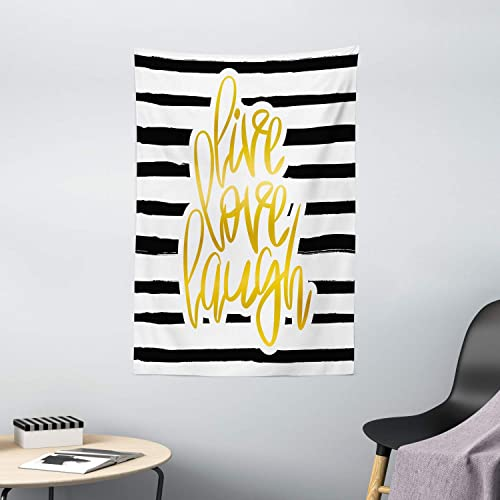 Ambesonne Live Laugh Love Tapestry, Romantic Design with Hand Drawn Stripes and Calligraphic Text, Wall Hanging for Bedroom Living Room Dorm Decor, 40 X 60 , White Yellow