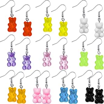 10 Pairs Gummy Candy Bear Earrings Resin Bear Drop Colorful Cartoon Dangle Drop for Women