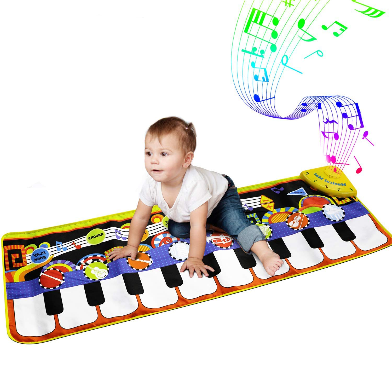 AIMDEYOU Kids Music Piano Keyboard Musical Mats Dance Floor Mat Carpet Animal Blanket Touch Playmat Early Education Toys for Baby Toddler Infants Girls Boys, 43.3 x14.2 inch by AIMEDYOU