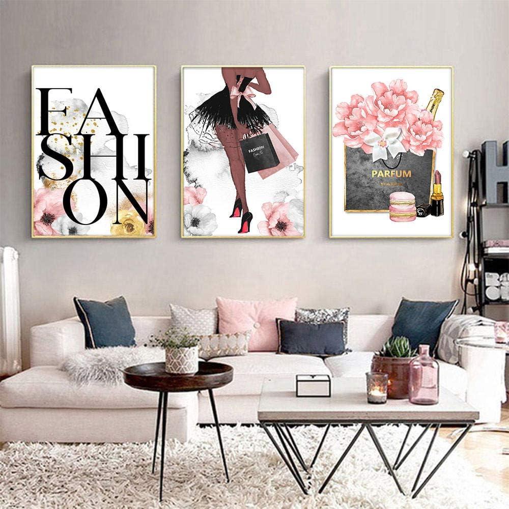 Home decor art prints posters Pink logo illustration beauty fashion designer