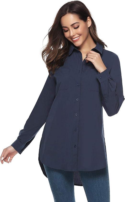 Abollria Damen Lange Bluse Baumwolle Button Down Hemd Oversize Langarmshirt f/ür Freizeit